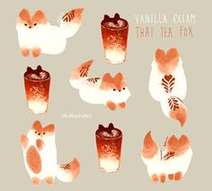 Trashin' Over Rhack • nk-illustrates:   Vanilla Cream Thai Tea Fox.