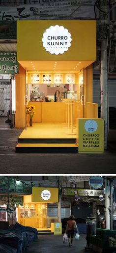 10 Unique Coffee Shops In Asia / Design studio M4 designed Churro Bunny, a bright and inviting takeaway cafe in Seoul, South Korea that stands out from the rest of the buildings on the street and adds a whimsical pop of yellow to the block.