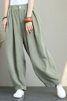 0310852b425 CASUAL WIDE LEG LINEN PANTS WOMEN LOOSE TROUSERS Q1290 Wide Leg Linen Pants