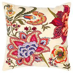 "Cotton throw pillow with embroidered detailing and a floral motif.  Product: PillowConstruction Material: Cotton coverColor: MultiFeatures:  Insert includedHidden zipperApplique and embroidery details Dimensions: 18"" x 18""Cleaning and Care: Hand wash in cold water. Lay flat to dry."