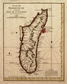 """A map of Madagascar, with Île Sainte-Marie, a possible location of Libertatia, marked by a red spot. For twenty-odd years during the 17th century, on the coast of Madagascar, there was a democratic colony comprised of surprisingly noble pirates who lived together in peace and harmony. They bankrolled their colony with spoils stolen from evil slave ships traversing the Indian Ocean. This astonishing place, next to the sea """"abounding with fish,"""" was called Libertatia."""