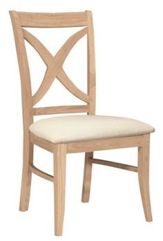 parawood vineyard curved x back chair with upholstered seat unfinished furniture real solid wood furniture