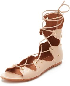 Light pink lace up gladiator sandals. IRO Xiri Lace Up Gladiator Sandals