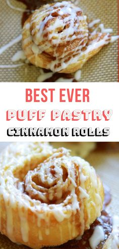 "Puff Pastry Cinnamon Rolls "" Puff Pastry Cinnamon Rolls is a simple and quick recipe! Made with pre-made puff pastry then topped with a sweet, vanilla icing! SO good, you will forget all about Starbucks Cinnamon Rolls Breakfast Puff Pastry, Puff Pastry Desserts, Sweet Puff Pastry Recipes, Cinnamon Rolls Puff Pastry, Just Desserts, Dessert Recipes, Brunch Recipes, Starbucks, Puff Recipe"