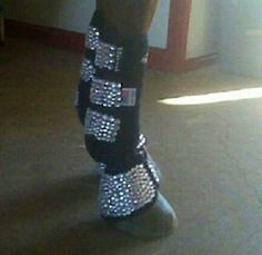 Bling you horse boots!  Taylor would so love to do this for Sparkles.