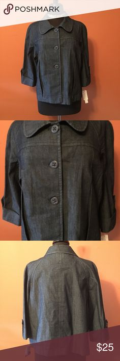 New Larry Levine Stretch Denim Cropped Jacket NWT, Lifestyle Attitude by Larry Levine, unlined Jacket, with 3 front buttons, 3/4 length sleeves and stylish pleats, size XL, cropped swing style Larry Levine Jackets & Coats Jean Jackets