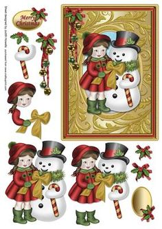 A 7 x 5 inch card front featuring a girl and snowman in a gold frame with holly and bells embellishment, decoupage pieces and optional greeting plates for MERRY CHRISTMAS and BLANK for any other wording are included.