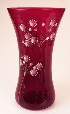 """Fenton 2008 Ruby Vase 10"""" Tall Ed 98 750 Designed by Kim Barley   eBay"""