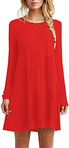 For G and PL Women's Casual Cotton Flowy Plain Dress