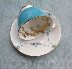Vintage Mismatched Tea Cup and Saucer English Bone by MiladyLinden