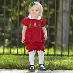 Baby Girl Red Corduroy Christmas Tree Smock Bloomer Set – Lolly Wolly Doodle