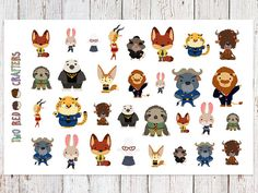 Zootopia character stickers for party favours by tworedcrafters