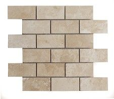 Radiant Travertine Mosaic (5x10cm) Tile