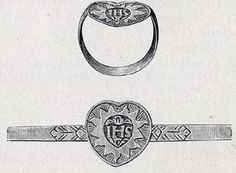 #english #jewelry 17c Finger-ring; gold; engraved; decorated shoulders; flat heart-shaped bezel with sacred monogram within radiate border.