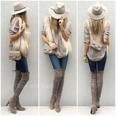 Reiss hat, Vincent top, Martin Margiela faux fur vest, J Brand jeans, Stuart Weitzman 'Highland' boots Fall Winter Outfits, Autumn Winter Fashion, Winter Ootd, Knew High Boots, Stuart Weitzman, Casual Outfits, Fashion Outfits, Womens Fashion, Over The Knee Boot Outfit