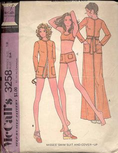 McCalls 3258 Misses Two Piece Swimsuit and Cover Up Pattern for Knits Womens Vintage Sewing Pattern Size 10 Bust 32 by mbchills on Etsy Mccalls Patterns, Vintage Sewing Patterns, Clothing Patterns, 60s Patterns, Handmade Tale, Night Club Outfits, Suit Pattern, Costume Patterns, Two Piece Swimsuits