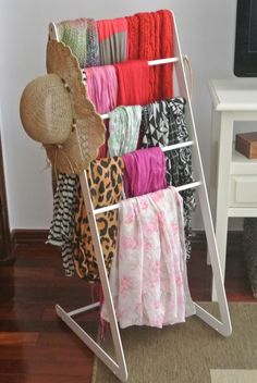creative ideas for scarf display rack, scarf storage ideas, scarf display organizer, how to display scarves in different ways including DIY scarf storage, functional DIY hangers Scarf Organization, Home Organization, Scarf Rack, Scarf Display, Scarf Storage, Dressing Room Closet, Craft Show Displays, Display Ideas, Getting Organized