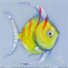 Striped Angel Fish Art Print by Anthony Morrow at Art.com