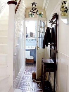 B & B under the staircase (i.e. make entire wall b & b)....maybe with cross section in center?