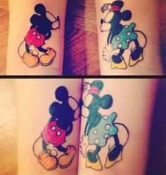 mickey and Minnie tattoos... Would be cute to paint on toms. One on each. Put your feet together and they kiss.