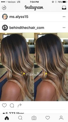37 Sweet Caramel for 2019 Balayage is an alternative technique to traditional salon highlighting with foils. Your colorist can literally paint highlights precisely where the sun would actually hit your hair. Caramel balayage on black hair can. Ombre Hair Color, Hair Color Balayage, Haircolor, Caramel Ombre, Ombre Hair Dark Skin, Orange Caramel, Brunette Hair Chocolate Caramel Balayage, Bayalage Caramel, Caramel Brown