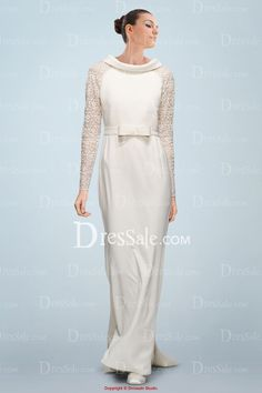 d1ae8d4c3bc Uniquely-designed Illusion Sleeves Wedding Dress Adorned with Bowknot Bridal  Dress Shops