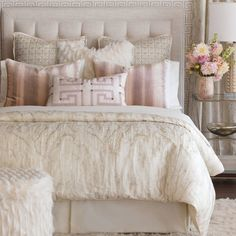Luxury Bedding by Eastern Accents - Halo Collection - vintage rose ceiling - benjamin moore rosetone or tissue pink - Bedroom Design Ideas Modern Bedroom Decor, Master Bedroom Design, Dream Bedroom, Bedroom Designs, Master Suite, Blush Bedroom Decor, Diy Bedroom, Feminine Bedroom, Pink Master Bedroom