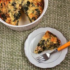 Swiss Chard and Goat Cheese Custard Bake; this is a delicious option for breakfast, lunch, or dinner. [from Kalyn's Kitchen] #LowCarb #GlutenFree #SouthBeachDiet