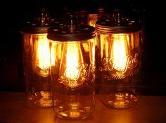 lampe retro ampoule edison bocal recup et factory sur table