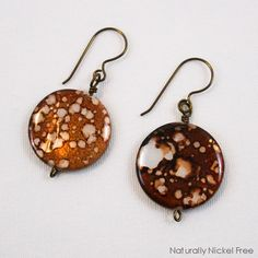 Brown Shell Niobium Dangle Earrings - product image