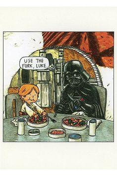 Darth Vader And Son Postcard Book, Star Wars Humor Star Wars Comics, Star Wars Humor, Star Wars Darth, Star Trek, Caricatures, Starwars, Darth Vader And Son, Star Wars Personajes, Postcard Book