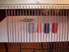 Twined Rug Loom With Offset Rows Of Nails   That Way It Can Be Used With