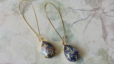 Black Harlequin Opal Earrings made with Vintage by ArtistInJewelry