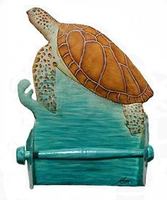 Painted Metal Turtle Toilet Paper Holder - Steel Drum Metal Art  - See more hand painted metal tropical items at www.TropicDecor.com