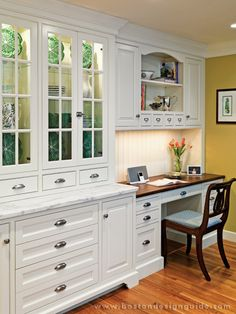 Custom Kitchen by Scandia Kitchens; Photography by Richard Mandelkorn. Love the glass front lighted cabinetry built to resemble a hutch with adjoining desk. Custom Kitchens, Home Kitchens, Kitchen Design, Kitchen Renovation, Kitchen Decor, Kitchen Desk Areas, Kitchen, Kitchen Redo, Kitchen Desks