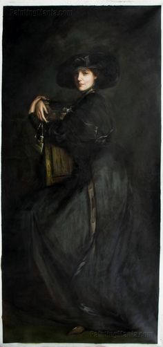 ▴ Artistic Accessories ▴ clothes, jewelry, hats in art - John Lavery | The Lady in Black (Mrs Trevor)