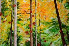 "Saatchi Art Artist Nicole Theresia Spitzwieser; Painting, ""Birkenwald, birch forest"" #art Birch Forest, Forest Art, Forest Painting, Saatchi Art, Original Paintings, Canvas, Artist, Tela, Artists"