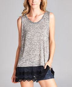 Loving this Charcoal Lace-Hem Sleeveless Top on #zulily! #zulilyfinds