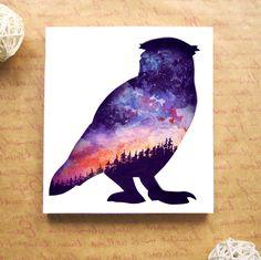 Wall picture, papercut artwork, owl, stars, night, galaxy, paper art, silhouette, owl art, owl decor, tumblr, wall art, watercolor, papercut