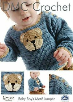 DMC Crochet pattern , Baby Boys Teddy Motif Jumper ,Sweater Pattern designed by Claire Crompton, baby crochet, childs sweater Baby Patterns, Knitting Patterns, Crochet Patterns, Häkelanleitung Baby, Baby Boys, Pull Bebe, Crochet For Boys, Boy Crochet, Crochet Baby Clothes