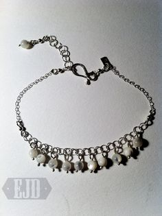 Items similar to Multiple Mother of Pearl Drops Bracelet. White MOP Pendant Round Dangle Cascade 925 Sterling Silver Chain Wedding Casual Genuine Original on Etsy Jewelry Design, Unique Jewelry, Dangles, Beaded Necklace, Drop, Pearls, Sterling Silver, Chain, Trending Outfits