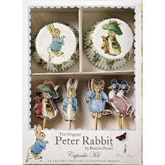 So sweet and perfect as baby shower decorations   The classic characters of Beatrix Potter's Peter Rabbit books work perfectly as cupcake decorations for a special occasion. This set features her beautifully illustrated characters mounted as toppers and as decorations for cupcake cases. The set comes in a stylish presentation box.