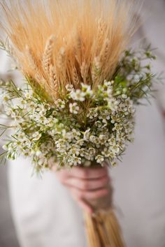 Wheat surrounded with babies breath for centerpieces?