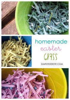 Homemade Easter grass is adorable, easy and quick to make, inexpensive, and can be made in any color you like!