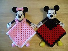 Mickey & Minnie Lovey Blankies by Knotty Hooker Designs - This pattern is available for $6.00 USD. They measure appx. 17 inches square.  Perfect for the diaper bag, car ride, crib or whatever tickles your fancy. It's smaller size makes it the perfect carry along companion for your little one. They work up quickly and easily!