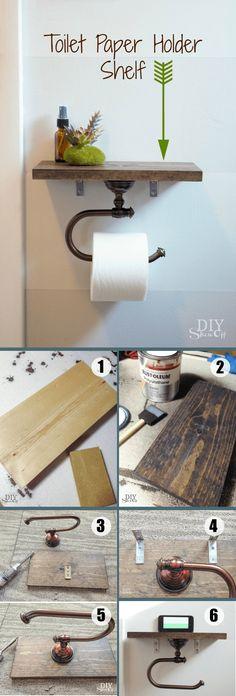 Easy to build DIY Toilet Paper Holder Shelf for rustic bathroom decor /istandard. Easy to build DIY Toilet Paper Holder Shelf for rustic bathroom decor /istandarddesign/ Diy Toilet Paper Holder, Diy Regal, Diy Casa, Rustic Bathroom Decor, Bathroom Crafts, Rustic Bathrooms, Rustic Decor, Luxury Bathrooms, Master Bathrooms