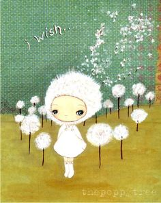 I so love this girl's sweet art! The eyes and dear faces just slay me! ThePoppyTree on Etsy! Dandelion Print Nature Girl Wall Art---Dandelion Wish 5 x 7