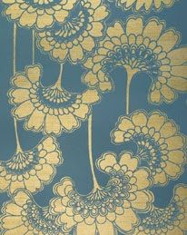 'Japanese Floral' wallpaper in 'Stormy Seas' by Florence Broadhurst, produced by Signature Prints Japanese Textiles, Japanese Patterns, Japanese Prints, Japanese Design, Japanese Art, Japanese Lotus, Japanese Painting, Traditional Japanese, Japanese Style