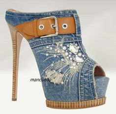 Light Blue Denim Platform Slippers