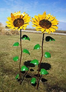 "Recycled Garden Decor | 67"" Recycled Metal Sunflower Garden Stake Yard Decor Lawn Ornament ..."